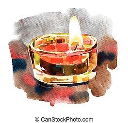 acquarello, diwali, illuminazione, composizione
