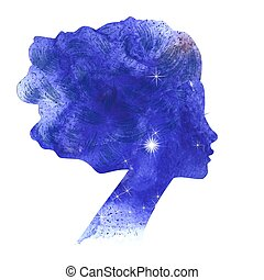 acquarello, donna, silhouette