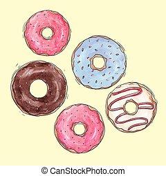 acquarello, donuts, set, saporito, vettore