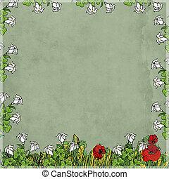 acquarello, e, fiori, carta, colorata, corniche, foglie, effetto, duper