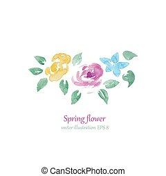 acquarello, estate, stile, fiori, com