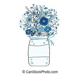 acquarello, fiore, pittura, mazzo