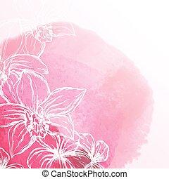 acquarello, fiori, fondo, orchidea