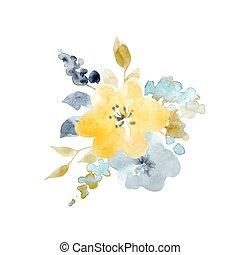 acquarello, floreale, vettore, composizione