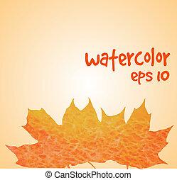 acquarello, foglie, bordo, cadere