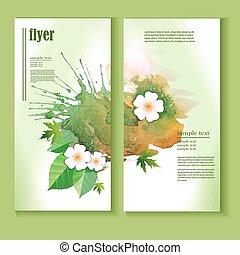 acquarello, foglie, sagoma, aviatore, schizzi, fiori