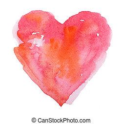 acquarello, heart., concetto, -, amore, relazione, arte,...
