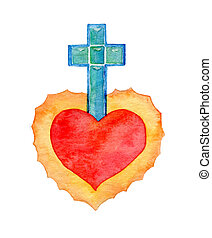 acquarello, heart., sacro, illustrazione