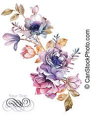 acquarello, illustrazione, fiori