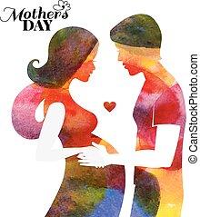 acquarello, incinta, bella donna, silhouette, con, lei, husband.