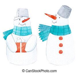 acquarello, inverno, pupazzo di neve