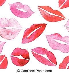 acquarello, labbra, pattern., seamless