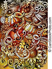 acquarello, mano, autunno, fondo, doodles, disegnato, cartone animato