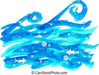 acquarello, mare, onda