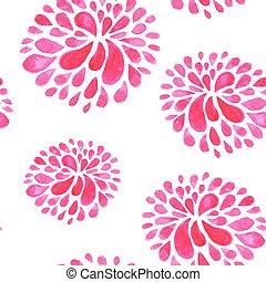 acquarello, modello, fiori, seamless, rosso