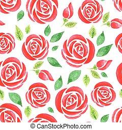 acquarello, modello, seamless, rosso sorto