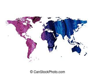 acquarello, mondo, luminoso, tecnologia, mappa