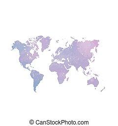 acquarello, mondo, map.