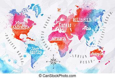acquarello, mondo, rosa, blu, mappa