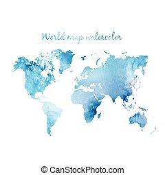 acquarello, mondo, vector., mappa