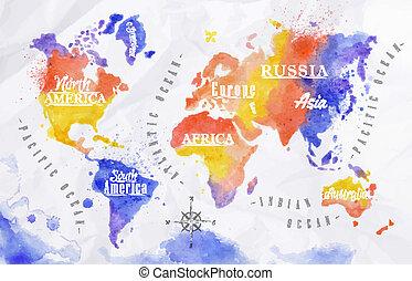 acquarello, mondo, viola, rosso, mappa