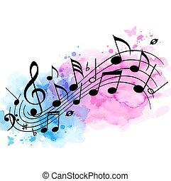 acquarello, note, musica, fondo, struttura
