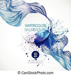 acquarello, onda, fondo., vettore, illustrazione