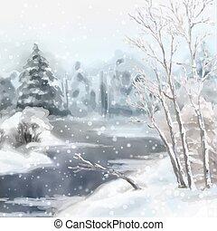 acquarello, paesaggio inverno, digitale