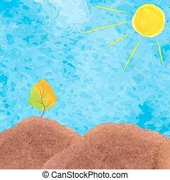 acquarello, paesaggio, marrone, albero., montagna, hills., illustrazione