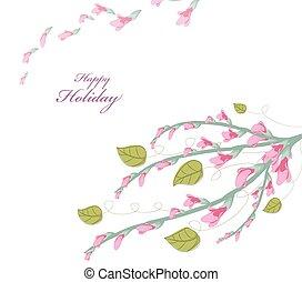 acquarello, primavera, scheda, ciliegia