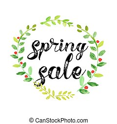 acquarello, primavera, vettore, manifesto vendita