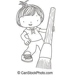 acquarello, ragazza, coloritura, spazzola, illustrazione