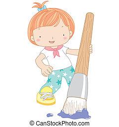 acquarello, ragazza, spazzola, illustrazione