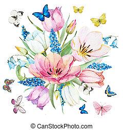 acquarello, raster, fiori primaverili