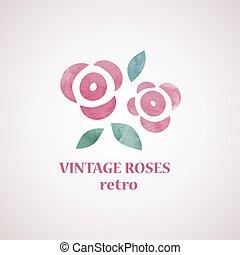 acquarello, rose, stile, flowers.