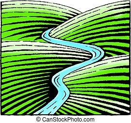 acquarello, schizzo, fiume, colline, inchiostro