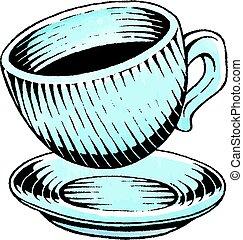 acquarello, schizzo, inchiostro, tazza caffè