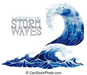 acquarello, set, tempesta, onde
