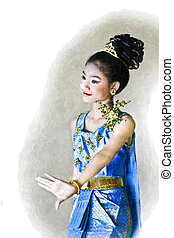 acquarello, signora, tailandese, giovane, style.