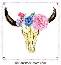 acquarello, vendemmia, stile, fiori, cranio