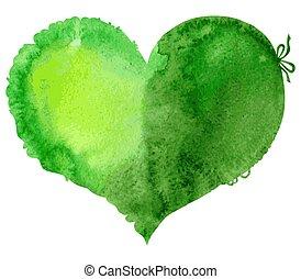 acquarello, verde, vettore, heart., illustrazione