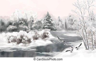 acquarello, vettore, paesaggio inverno