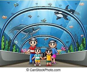 acquario, mare, famiglia, felice