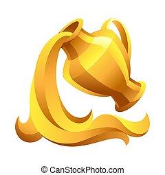 acquario, segno, simbolo., oroscopo, zodiaco, dorato