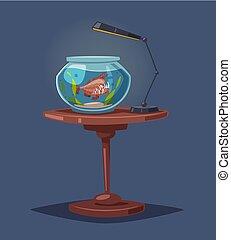 acquario, vettore, chiaro, cartone animato, water., illustrazione