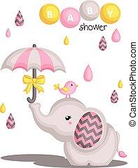 acquazzone bambino, elefante