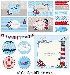 acquazzone bambino, nautico, set, -, per, decorazione parte,...