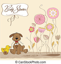 acquazzone bambino, scheda, con, cane, e, anatra