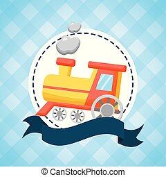 acquazzone bambino, treno, scheda, giocattolo
