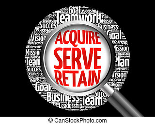 Acquire, Serve and Retain word cloud with magnifying glass, ...